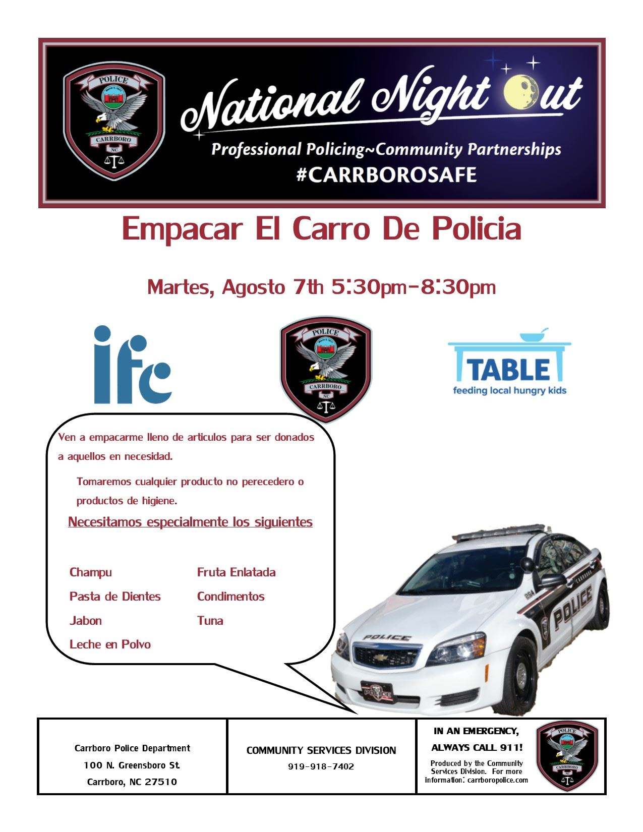 pack the patrol car spanish
